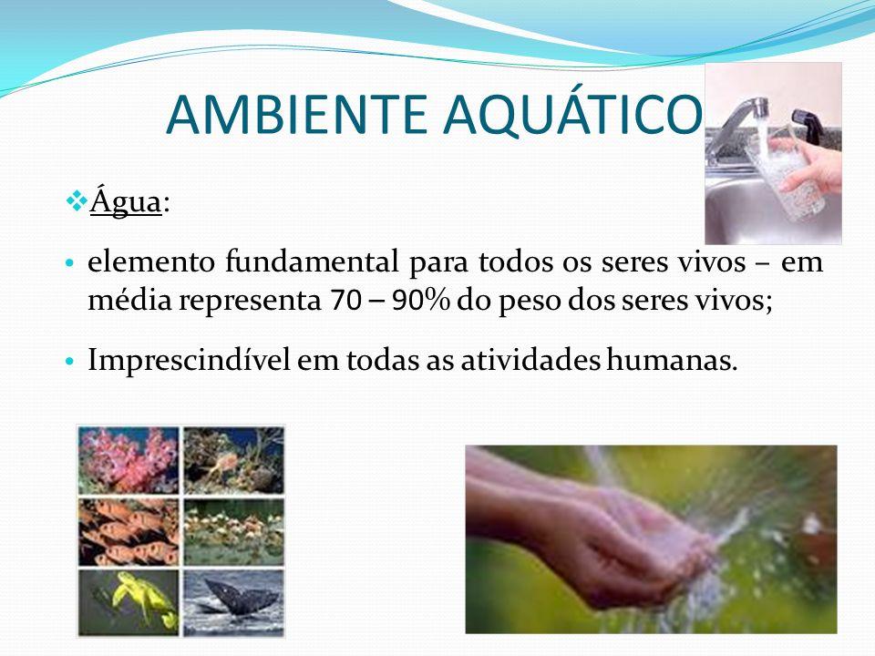 AMBIENTE AQUÁTICO Água: