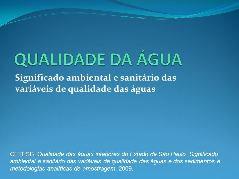 QUALIDADE DA ÁGUA Significado ambiental e sanitário das variáveis de qualidade das águas.