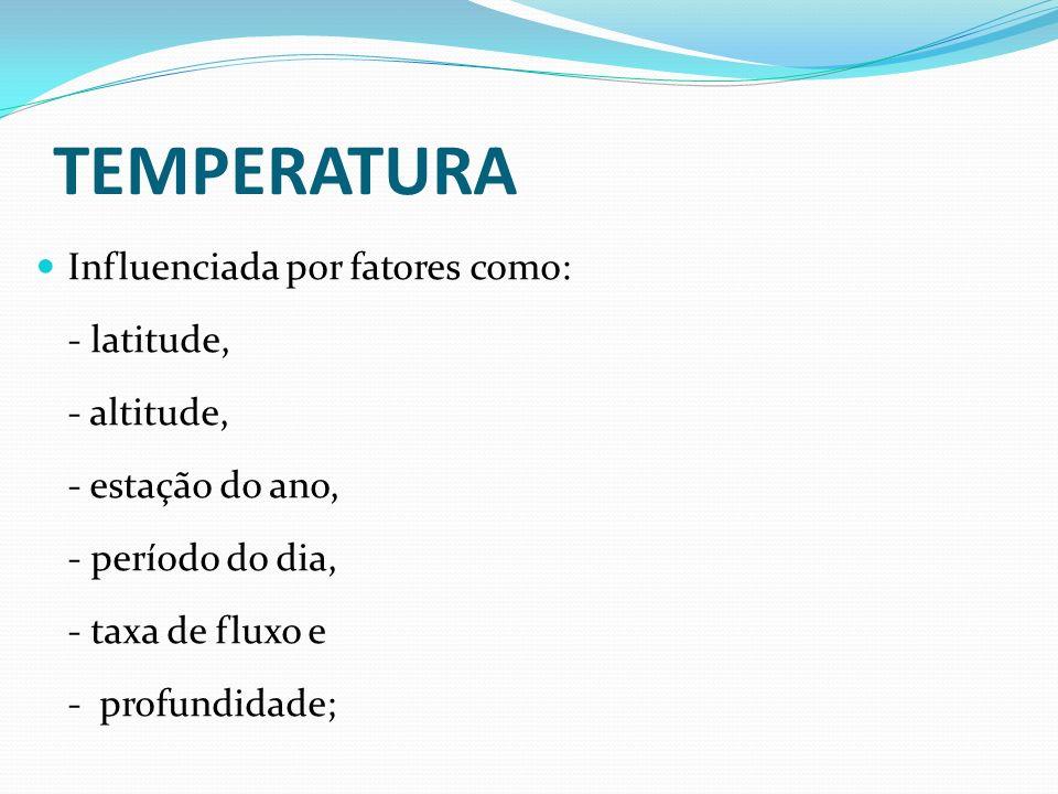 TEMPERATURA Influenciada por fatores como: - latitude, - altitude,