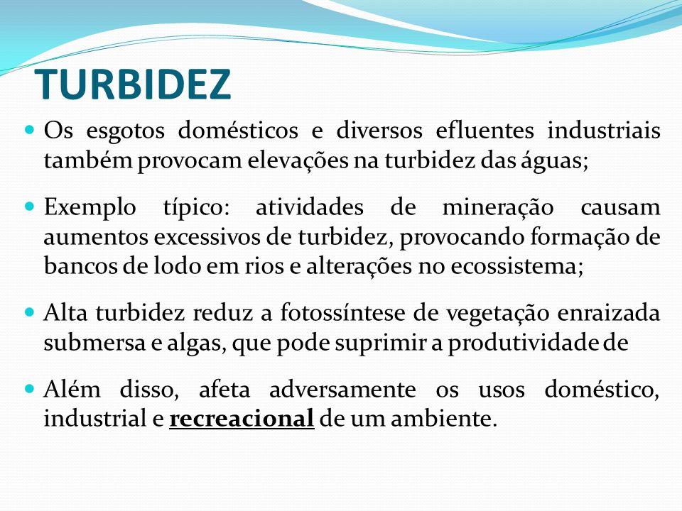 TURBIDEZ Os esgotos domésticos e diversos efluentes industriais também provocam elevações na turbidez das águas;