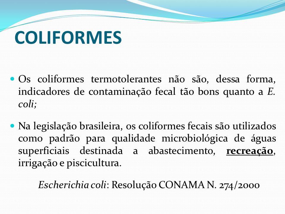COLIFORMES Os coliformes termotolerantes não são, dessa forma, indicadores de contaminação fecal tão bons quanto a E. coli;