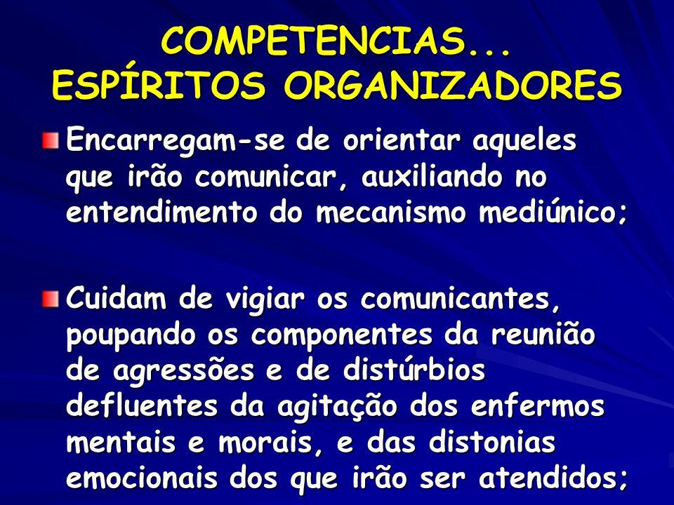COMPETENCIAS... ESPÍRITOS ORGANIZADORES