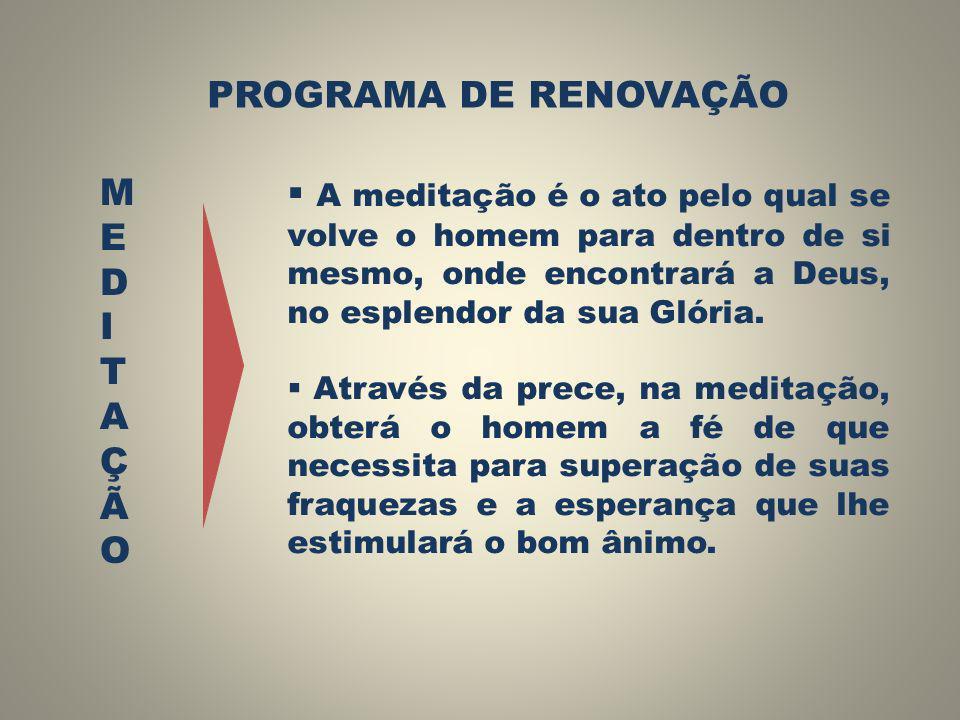 PROGRAMA DE RENOVAÇÃO MEDITAÇÃO