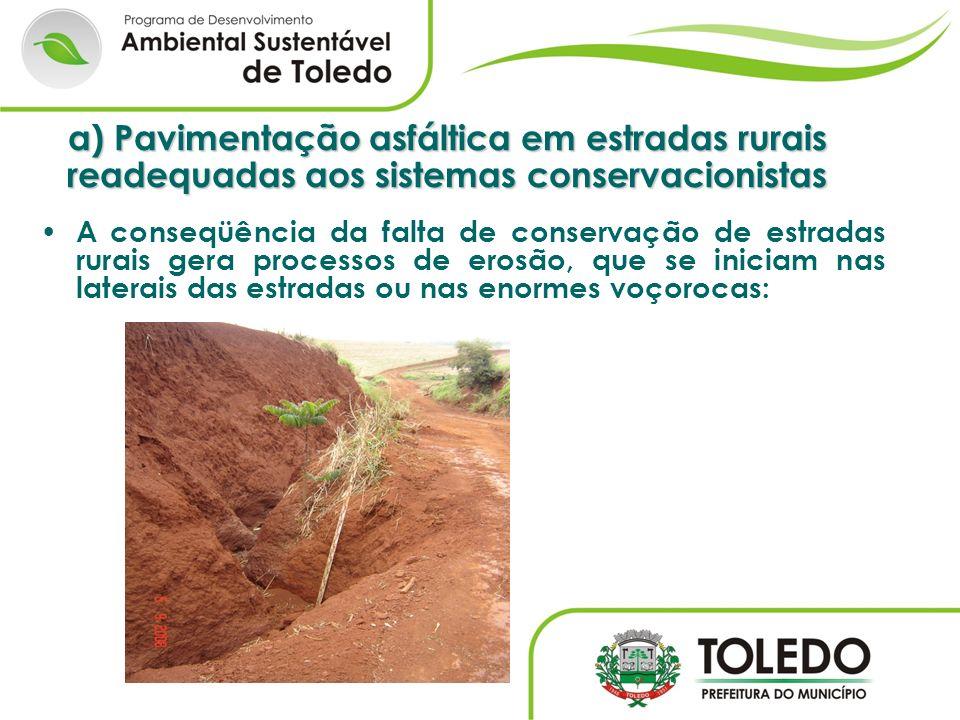 a) Pavimentação asfáltica em estradas rurais readequadas aos sistemas conservacionistas