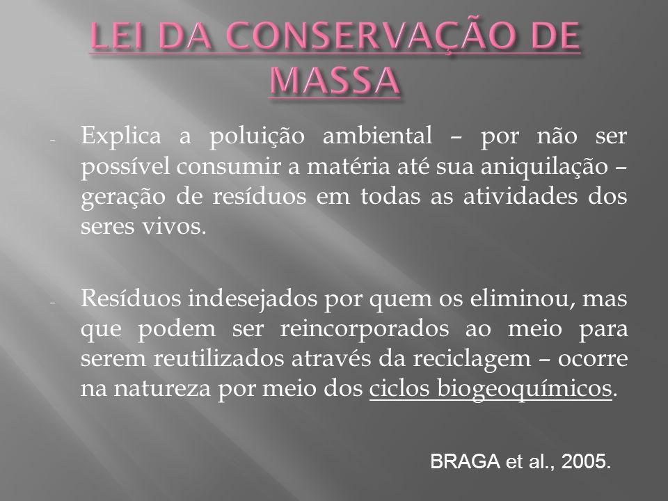 LEI DA CONSERVAÇÃO DE MASSA