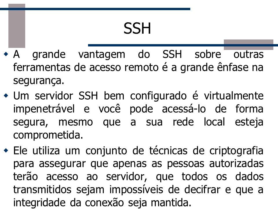 SSH A grande vantagem do SSH sobre outras ferramentas de acesso remoto é a grande ênfase na segurança.