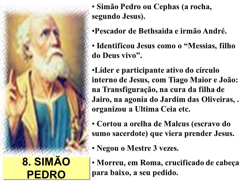 8. SIMÃO PEDRO Simão Pedro ou Cephas (a rocha, segundo Jesus).