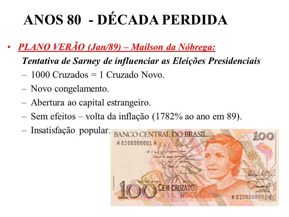 ANOS 80 - DÉCADA PERDIDA PLANO VERÃO (Jan/89) – Maílson da Nóbrega: