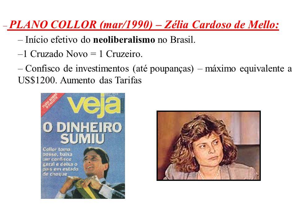 Início efetivo do neoliberalismo no Brasil.