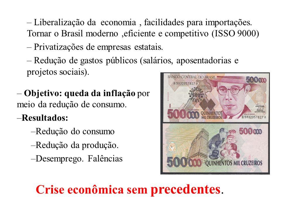 Crise econômica sem precedentes.