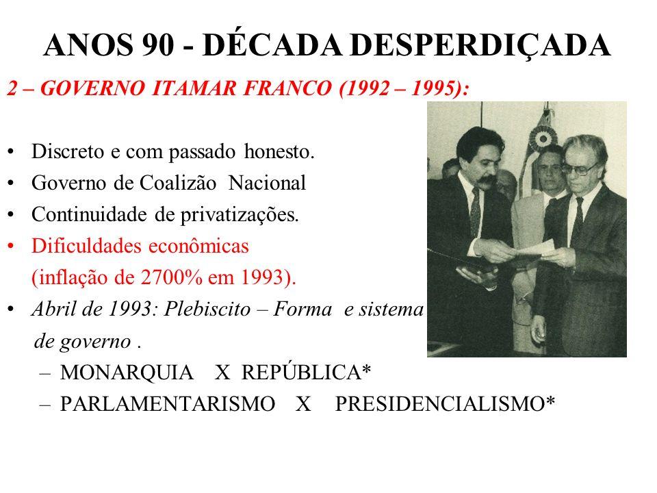 ANOS 90 - DÉCADA DESPERDIÇADA