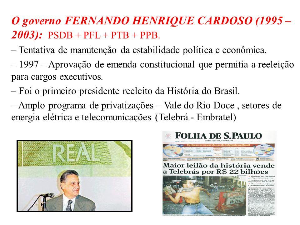 O governo FERNANDO HENRIQUE CARDOSO (1995 – 2003): PSDB + PFL + PTB + PPB.