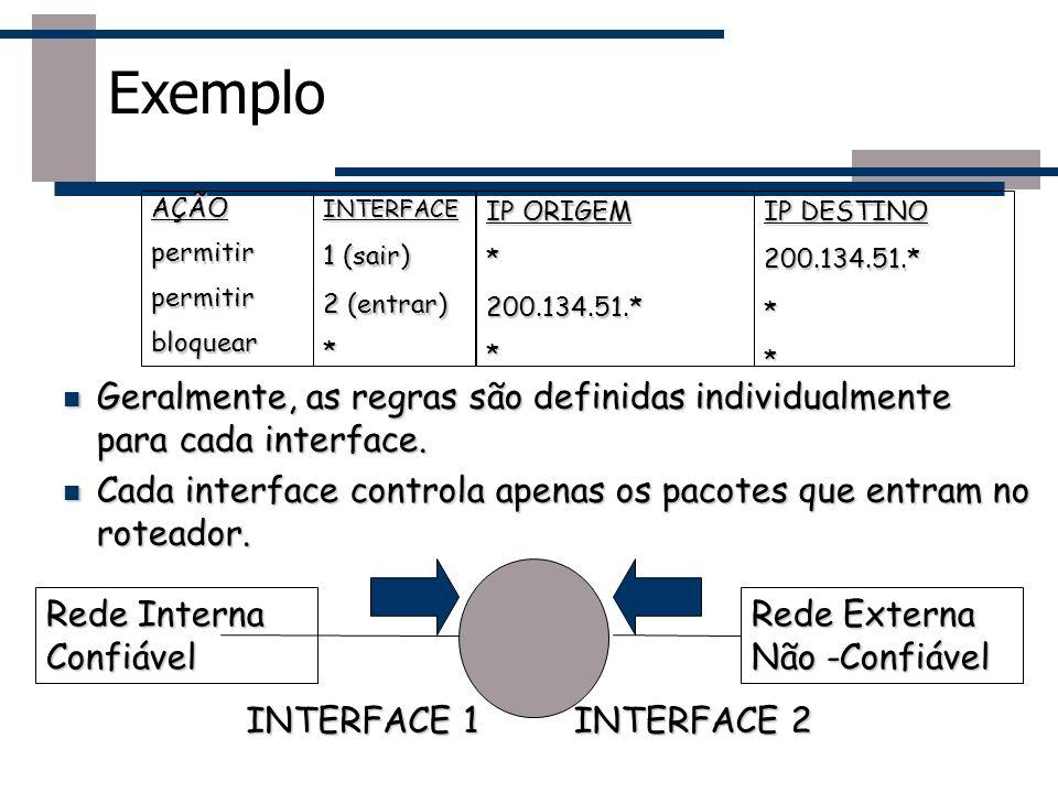 Exemplo AÇÃO. permitir. bloquear. IP ORIGEM. * 200.134.51.* IP DESTINO. INTERFACE. 1 (sair)