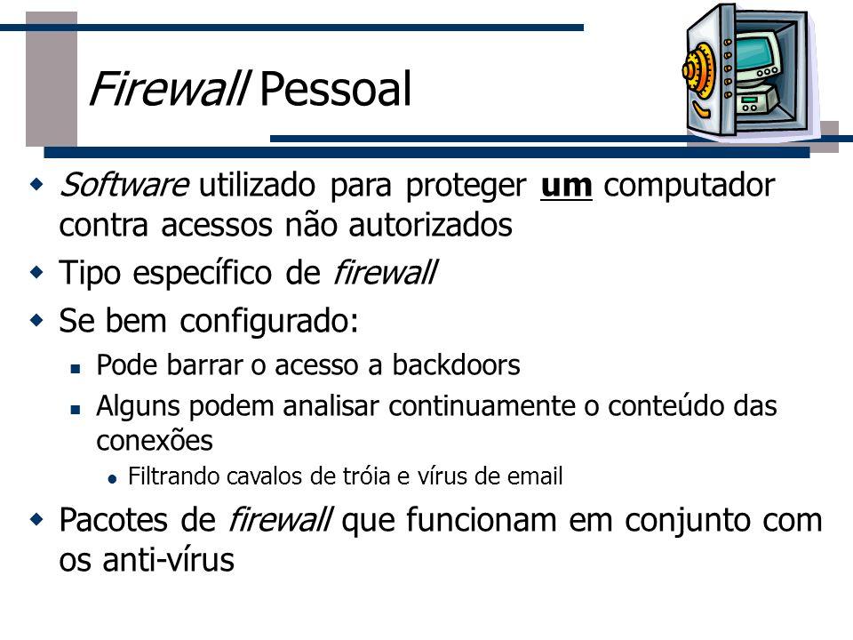 Firewall Pessoal Software utilizado para proteger um computador contra acessos não autorizados. Tipo específico de firewall.
