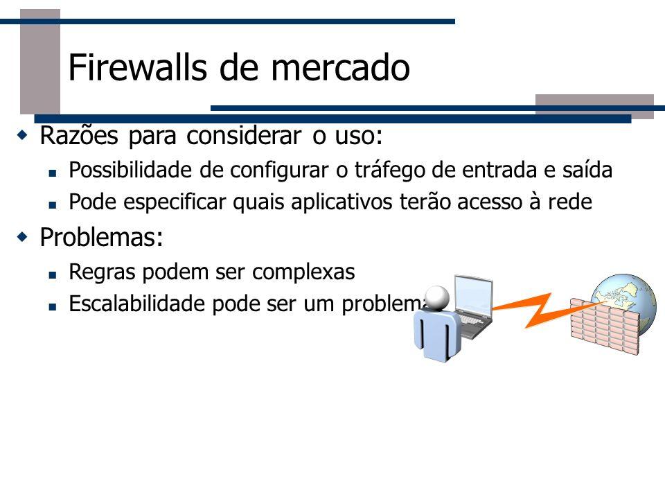 Firewalls de mercado Razões para considerar o uso: Problemas: