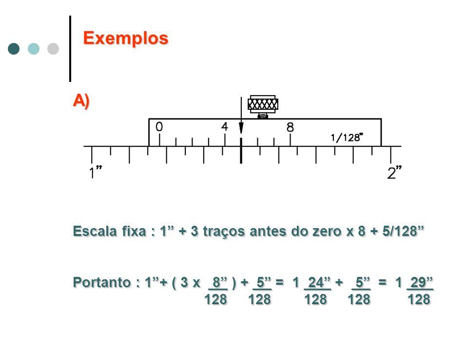 Exemplos A) Escala fixa : 1 + 3 traços antes do zero x 8 + 5/128