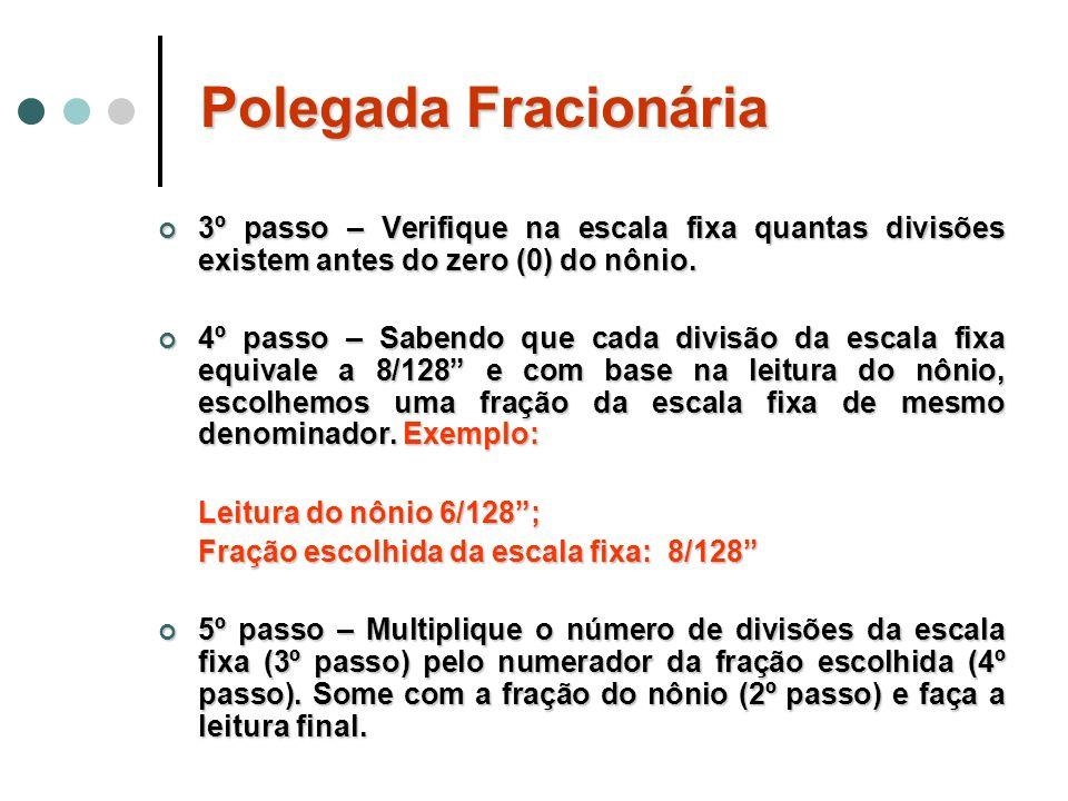 Polegada Fracionária3º passo – Verifique na escala fixa quantas divisões existem antes do zero (0) do nônio.