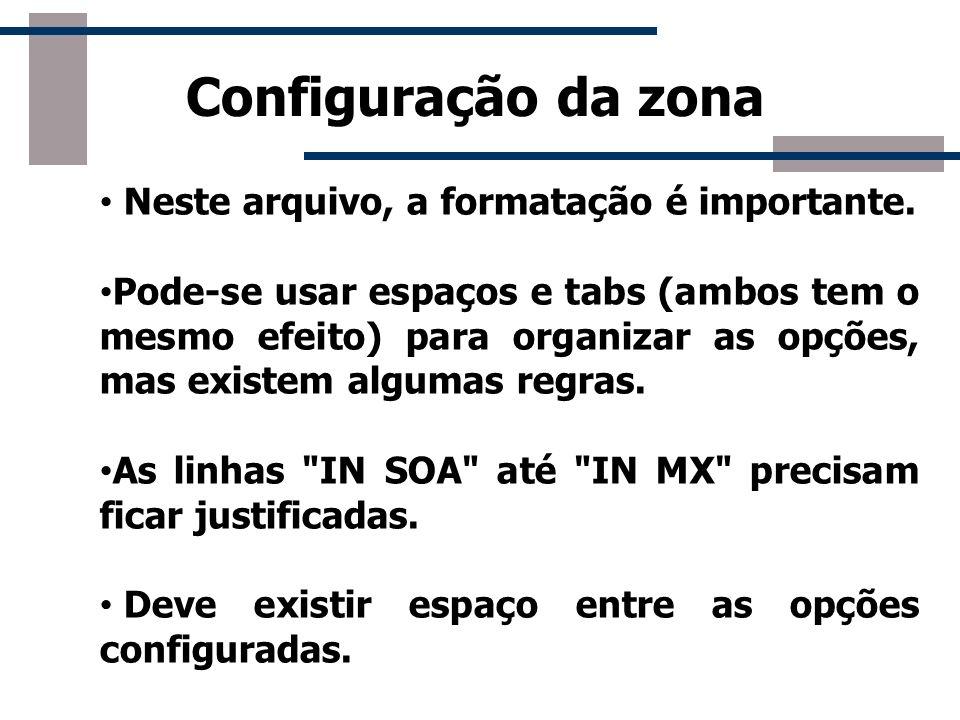 Configuração da zona Neste arquivo, a formatação é importante.