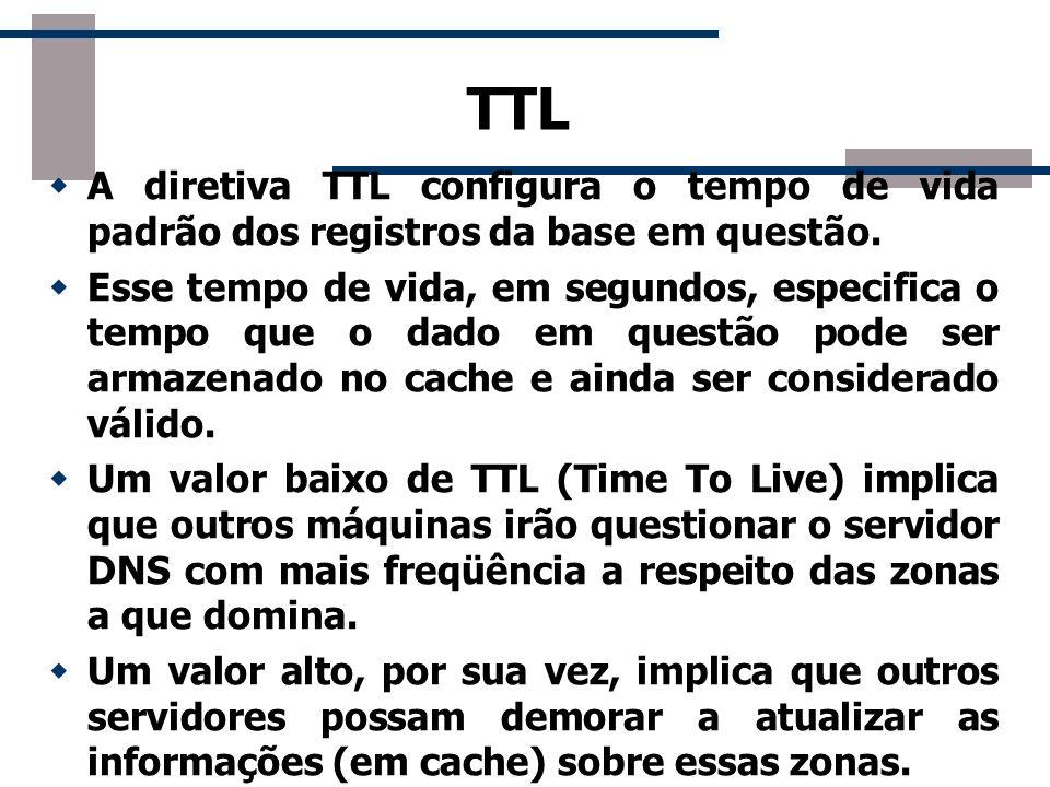 TTL A diretiva TTL configura o tempo de vida padrão dos registros da base em questão.