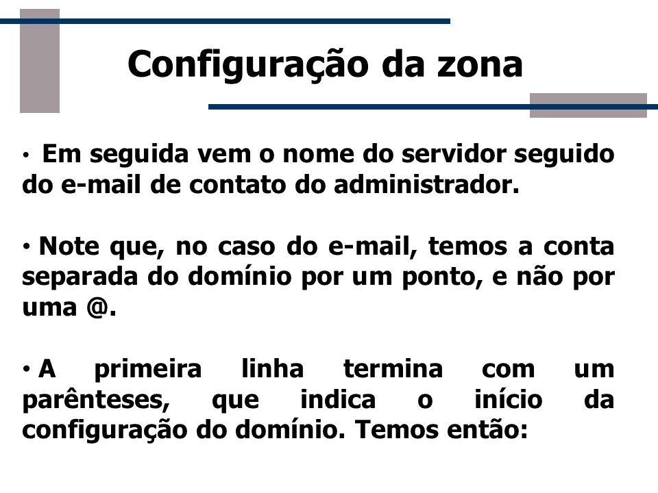 Configuração da zona Em seguida vem o nome do servidor seguido do e-mail de contato do administrador.