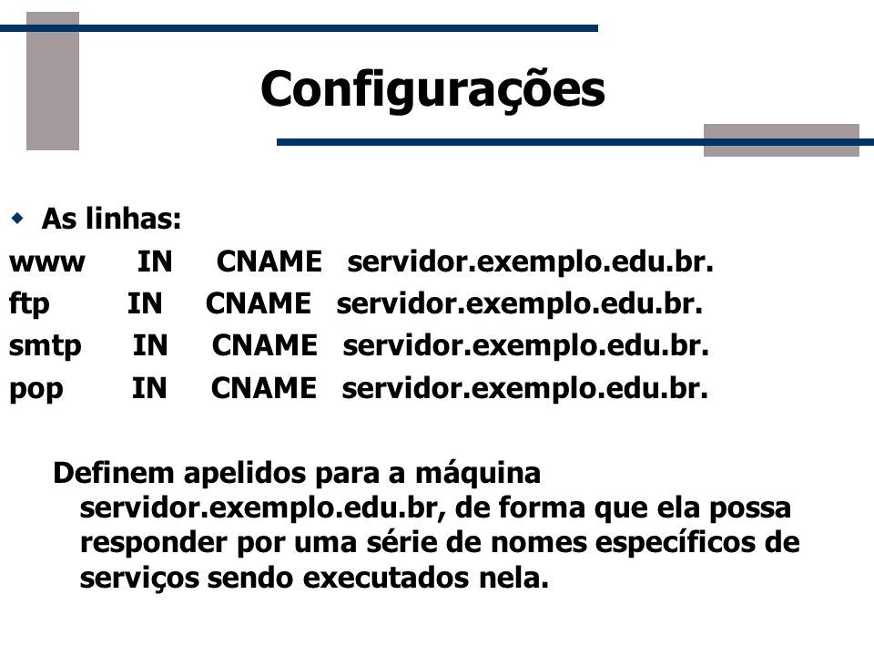Configurações As linhas: www IN CNAME servidor.exemplo.edu.br.