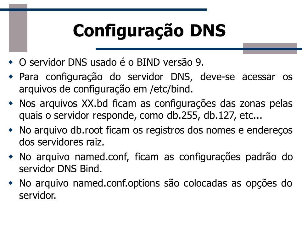 Configuração DNS O servidor DNS usado é o BIND versão 9.