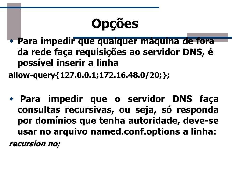 Opções Para impedir que qualquer máquina de fora da rede faça requisições ao servidor DNS, é possível inserir a linha.