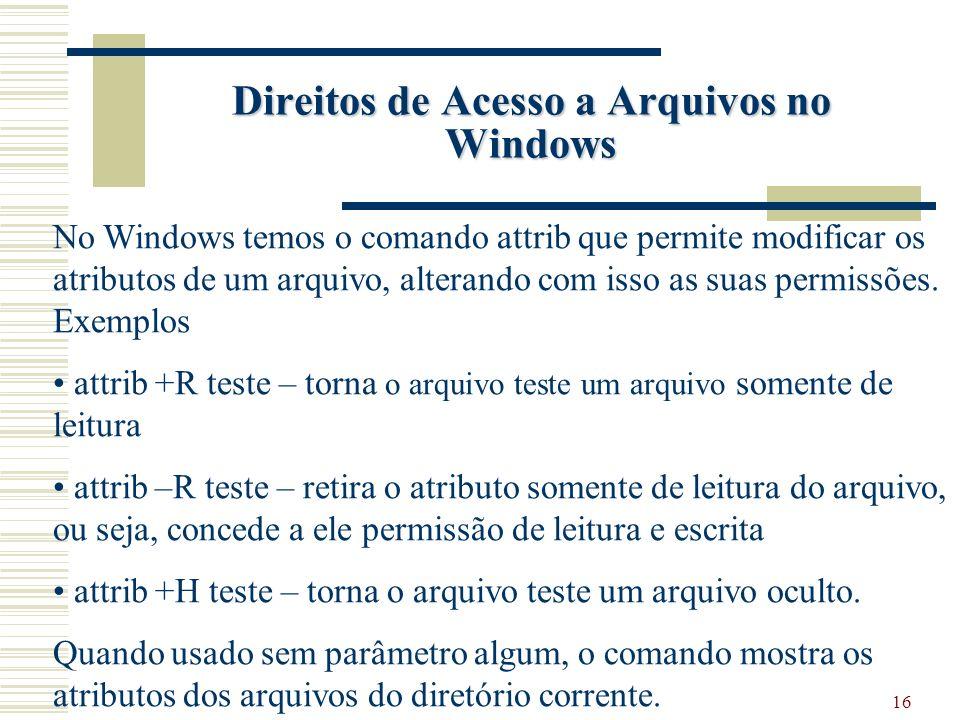 Direitos de Acesso a Arquivos no Windows