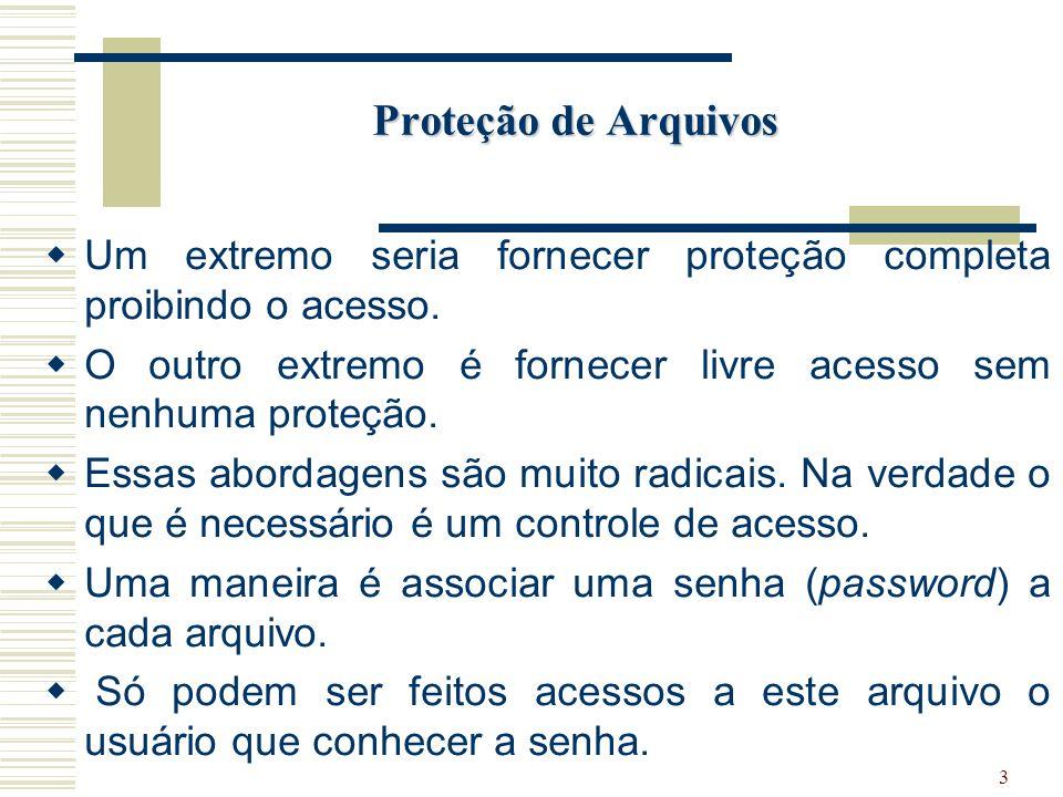 Proteção de Arquivos Um extremo seria fornecer proteção completa proibindo o acesso. O outro extremo é fornecer livre acesso sem nenhuma proteção.