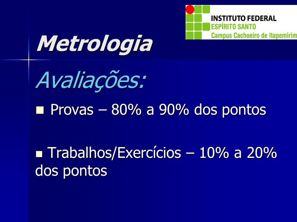 Avaliações: Metrologia Provas – 80% a 90% dos pontos