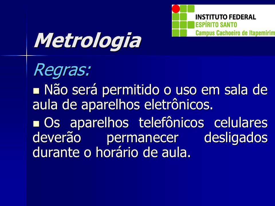Metrologia Regras: Não será permitido o uso em sala de aula de aparelhos eletrônicos.