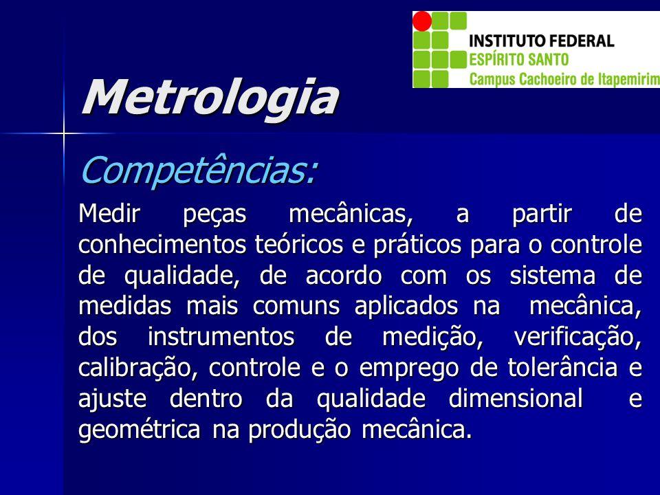Metrologia Competências: