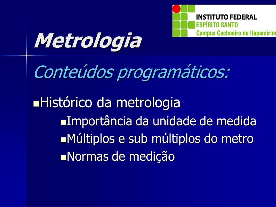 Metrologia Conteúdos programáticos: Histórico da metrologia