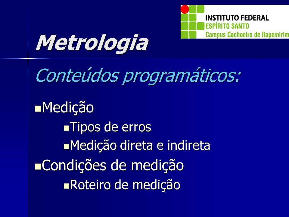 Metrologia Conteúdos programáticos: Medição Condições de medição
