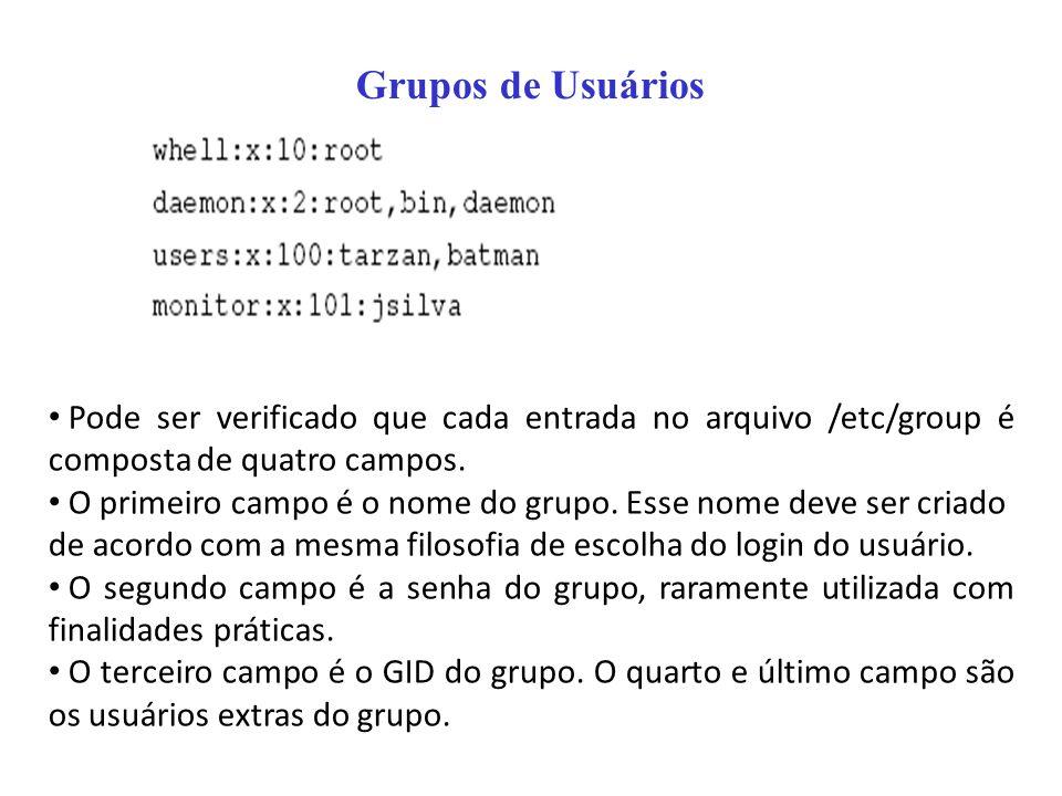 Grupos de Usuários Pode ser verificado que cada entrada no arquivo /etc/group é composta de quatro campos.