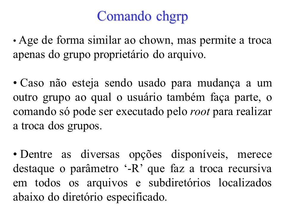 Comando chgrp Age de forma similar ao chown, mas permite a troca apenas do grupo proprietário do arquivo.