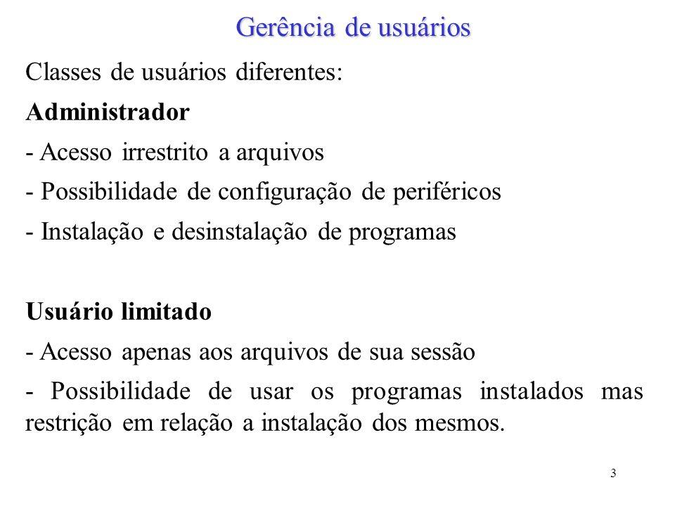 Gerência de usuários Classes de usuários diferentes: Administrador