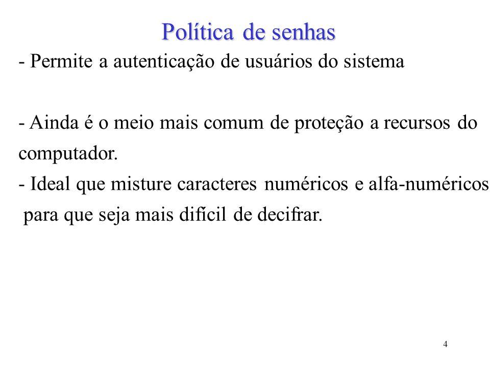 Política de senhas - Permite a autenticação de usuários do sistema