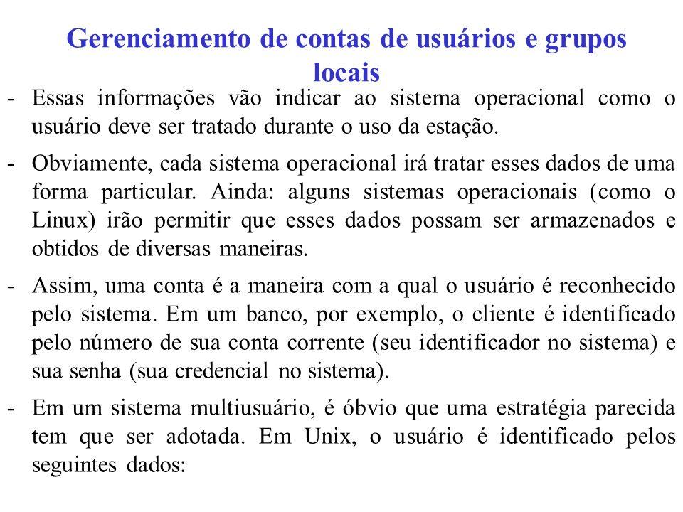 Gerenciamento de contas de usuários e grupos locais