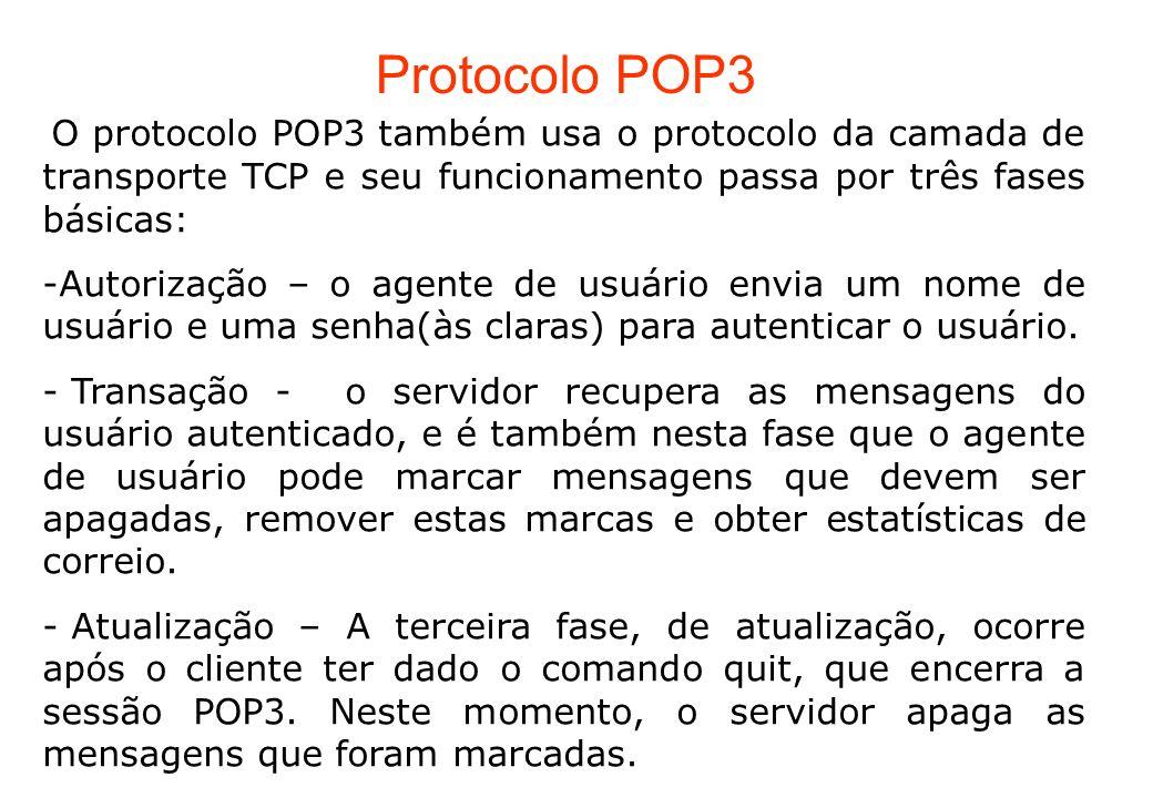 Protocolo POP3 O protocolo POP3 também usa o protocolo da camada de transporte TCP e seu funcionamento passa por três fases básicas: