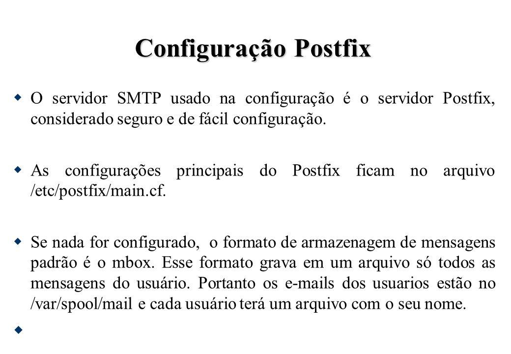 Configuração Postfix O servidor SMTP usado na configuração é o servidor Postfix, considerado seguro e de fácil configuração.