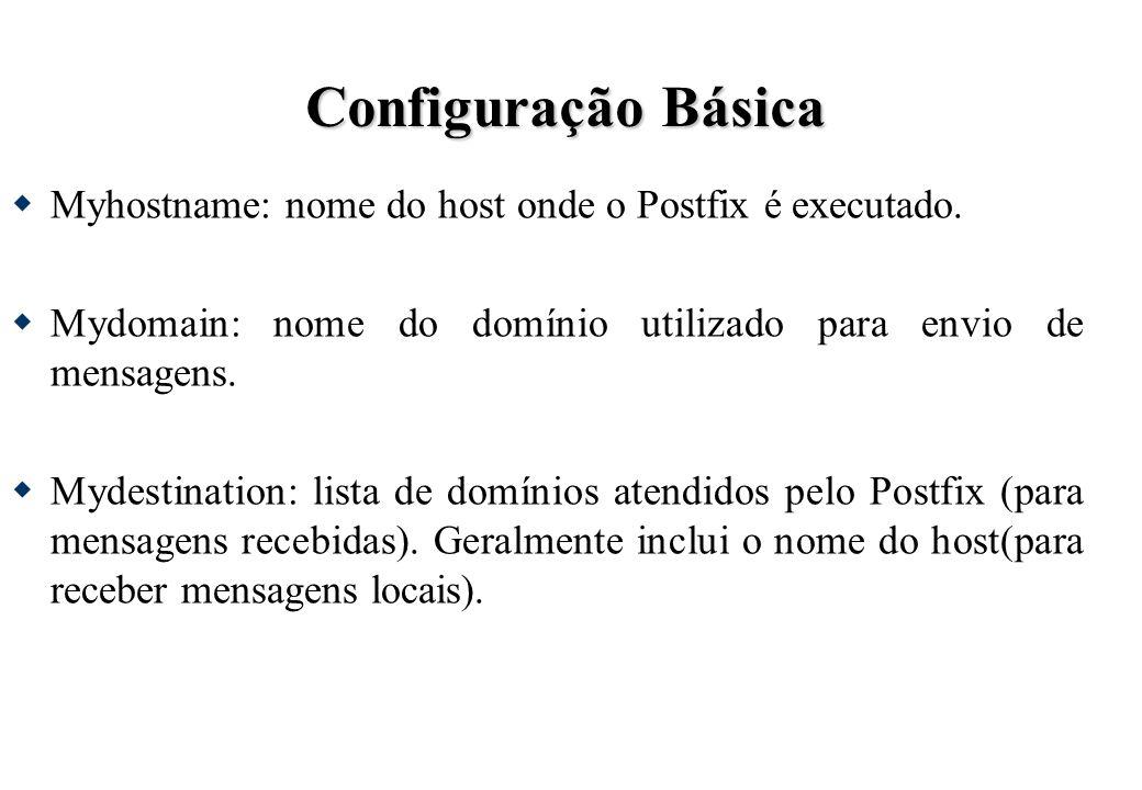 Configuração Básica Myhostname: nome do host onde o Postfix é executado. Mydomain: nome do domínio utilizado para envio de mensagens.