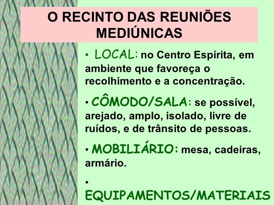 O RECINTO DAS REUNIÕES MEDIÚNICAS