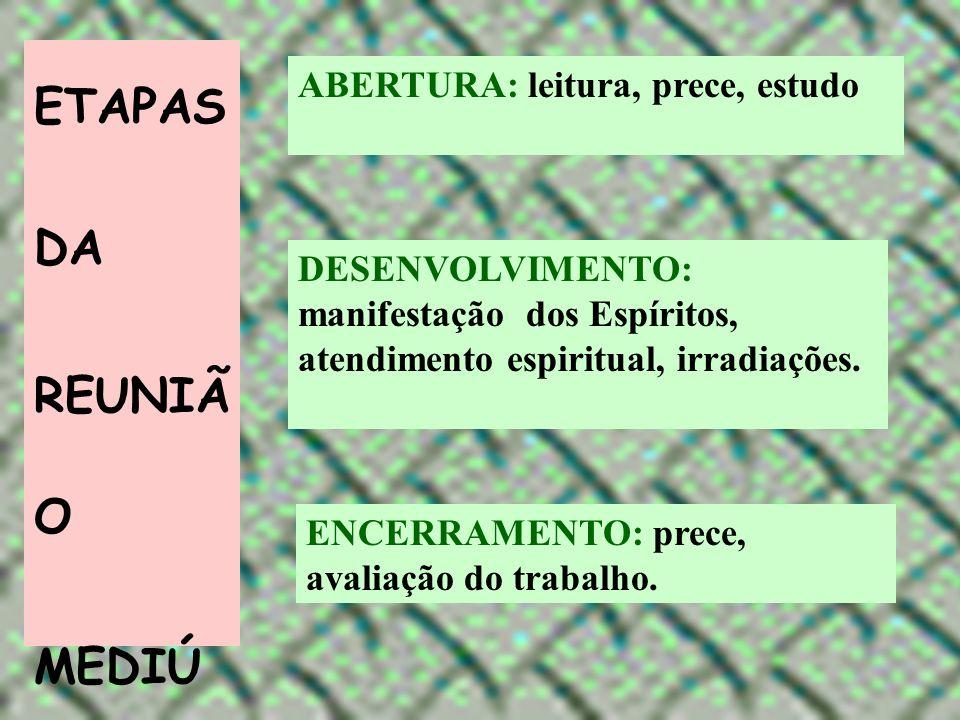 ETAPAS DA REUNIÃO MEDIÚNICA ABERTURA: leitura, prece, estudo