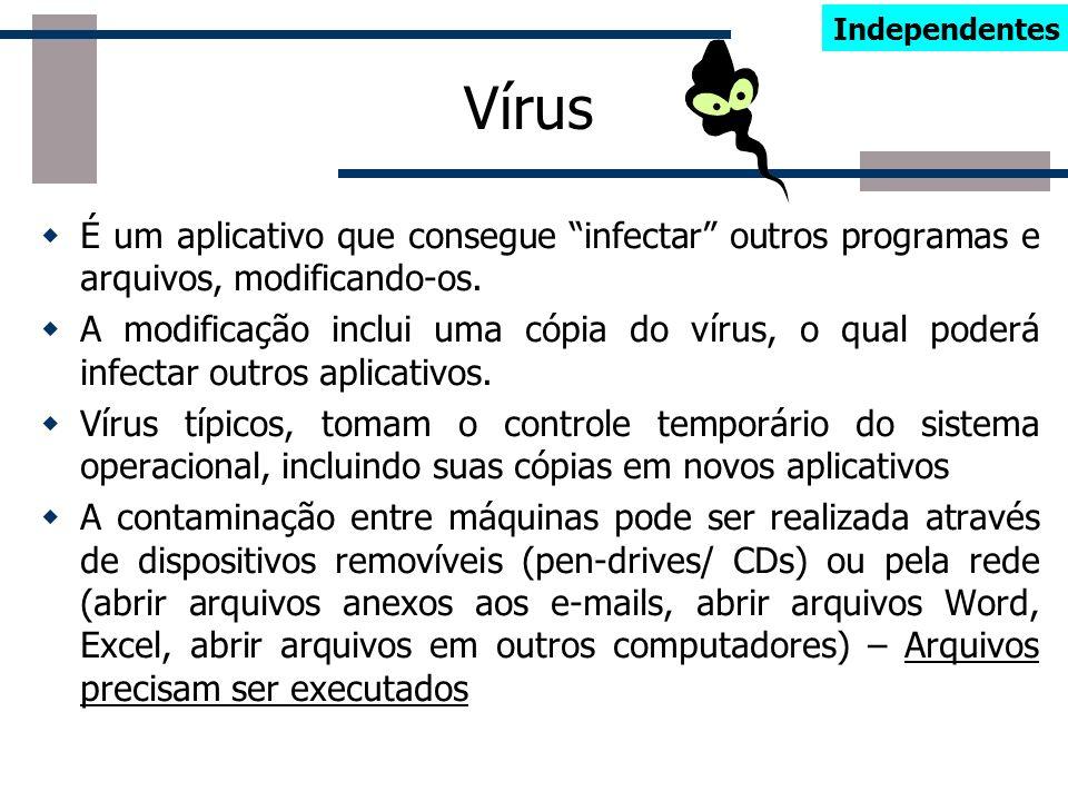IndependentesVírus. É um aplicativo que consegue infectar outros programas e arquivos, modificando-os.