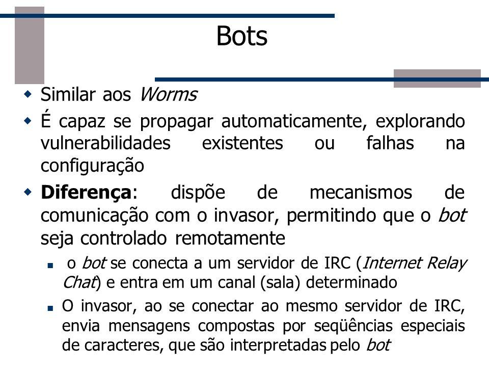 BotsSimilar aos Worms. É capaz se propagar automaticamente, explorando vulnerabilidades existentes ou falhas na configuração.