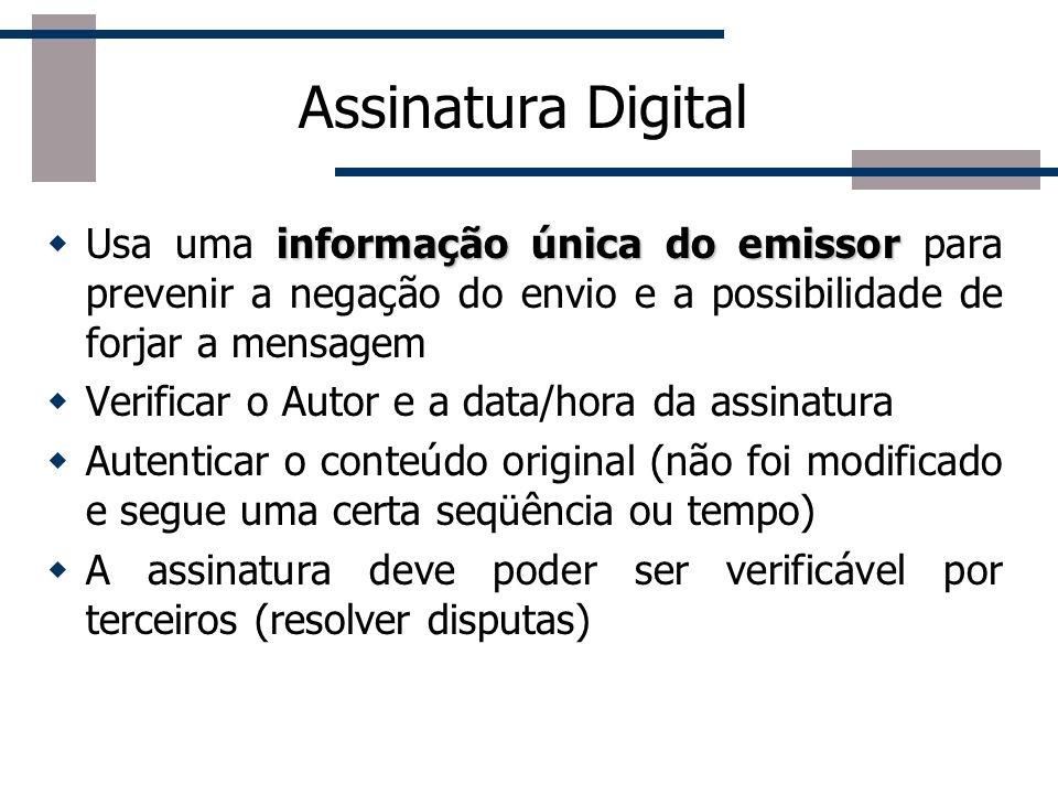 Assinatura DigitalUsa uma informação única do emissor para prevenir a negação do envio e a possibilidade de forjar a mensagem.