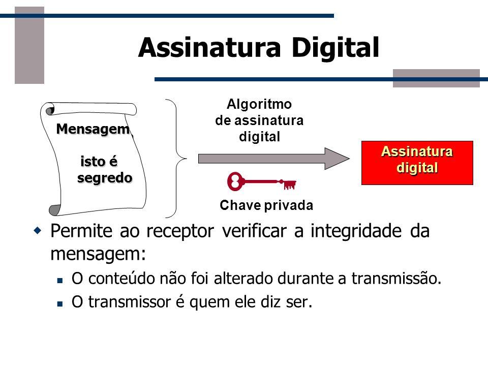 Assinatura DigitalAlgoritmo. de assinatura. digital. Mensagem. isto é. segredo. Mensagem. isto é. segredo.