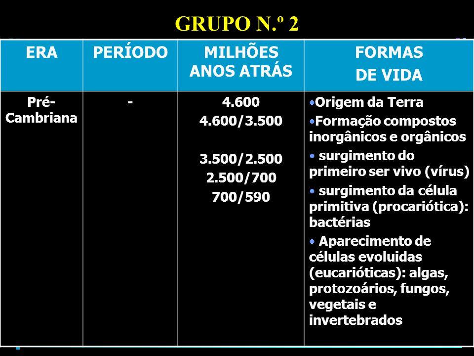 GRUPO N.º 2 ERA PERÍODO MILHÕES ANOS ATRÁS FORMAS DE VIDA