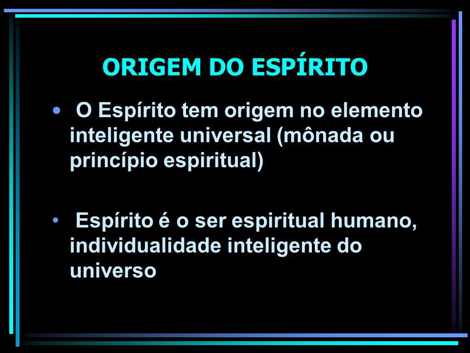 ORIGEM DO ESPÍRITO O Espírito tem origem no elemento inteligente universal (mônada ou princípio espiritual)